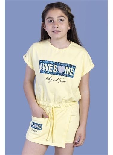 Toontoy Kids Toontoy Kız Çocuk Baskılı Şortlu Takım Sarı